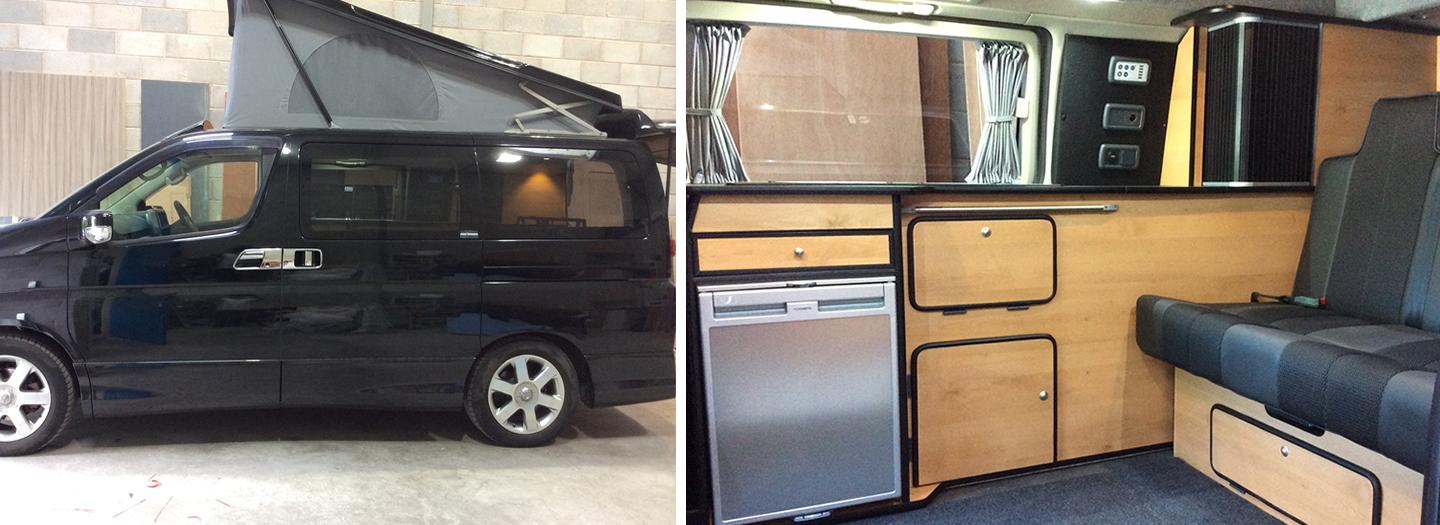 NISSAN ELGRAND CAMPER VAN CONVERSIONS HIGH QUALITY MATERIALS FURNITURE BOARD